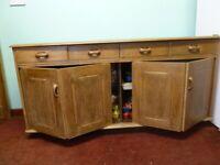 Ercol Style Priory oak/elm retro dresser sideboard 2-concertina doors 4-drawers