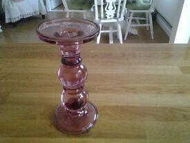 Plum glass candlestick