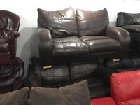 2 brown leather 2 seater sofas