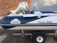 HONWAVE T40 MX-400 SIB RIB SEMI INFLATABLE BOAT OUTBOARD HONDA 20 HP ENGINE