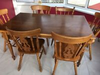 Oak Kitchen Table and Six Matching Chairs