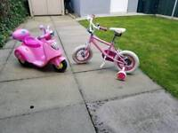 "Peppa pig scooter and My princess New 12"" bike"