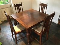 Extending Antique Oak Dining Table with 4 Chairs