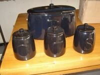 Brand New in the Original Box. Argos Black Ceramic Bread Bin, Coffee, Tea and Sugar Comtainer Set