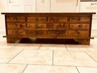 Laura Ashley Garrat 12 Drawer Coffee Table In Chestnut - Great Condition