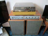 Vintage HIFI Stereo, Leak Stereo 70 Amp/Tuner, Wharfedale Dovedale Speakers, Garrard SP25, Shure 75