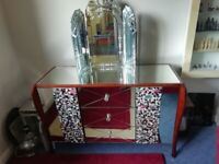 Beautiful mirrored sideboard/ dressing table, with mosaic embellishments and large mirror
