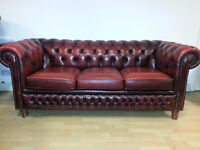 Lovely ox blood red leather Three setter chesterfield.
