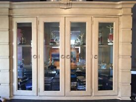 Cabinet with glass doors and lighting
