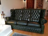 Green high-back genuine leather Chesterfield three / 3 seater sofa