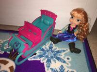 Frozen Anna doll and sleigh disney