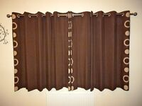 BROWN EYELET CURTAINS, AS NEW