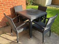 Black rattan garden furniture