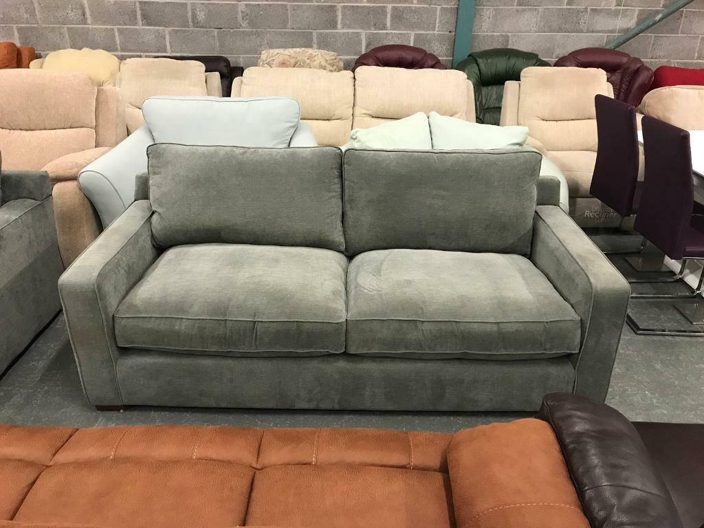 3 seater high retail grey fabric sofa