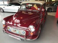Morris Minor 1000 Maroon with red leather interior. Very good running order, 3 former owners.