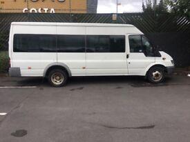 MINIBUS 17 SEATER FORD TRANSIT 350 2.4 LWD TDI 90 WITH MOT ( 6WHEELER