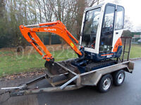 Kubota KX36-3 mini digger 2010 year wiyh or without Indespension trailer.