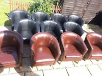 11 x Faux Leather Tub chairs (to be re-covered)