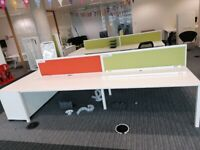office workstation desk table 4 positions white with dividers