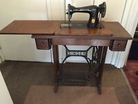 Antique Singer Sewing Machine Inside Table - Vintage