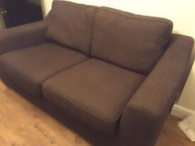 Brown fabric two seater sofa from DFS