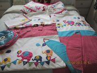 Jo Jo Maman Bebe Cot Bed Nursery set Curtains, Matching Shade, Bumper, Duvet Cover & Pillowcase
