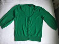 M&S 100% Cashmere green cardigan U.K. 12 excellent condition