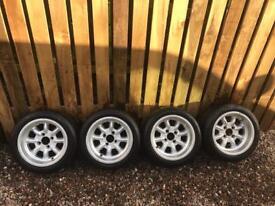 "Classic mini 13x7"" minilite alloy wheels and tyres"