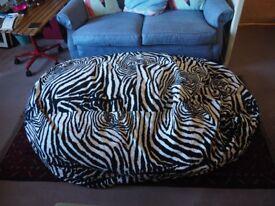 Large Zebra Print Bean Bag