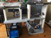 playmobil police station and police van
