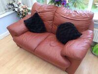 Brown leather deep cushioned sofa - super soft
