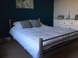 Double bed frame and mattress wood metal