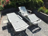 Hardwood Garden Sun Loungers x 2 (weathered but in very good condition. 72cm x 207cm with cushions