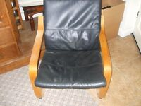 IKEA Poang Chair with Leather Cushion