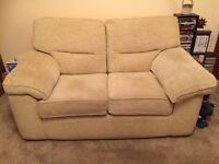 Two Seater Cream, Fabric Sofa Bed