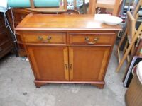 No 1 Yew Wood Cabinet 2 draw's with doors and with shelf inside.
