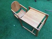 Kids chair and table in wood