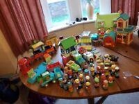 LARGE HAPPYLAND BUNDLE £55 AND A CHUGGINGTON TRAIN SET (3 TALKING DIECAST TRAINS )