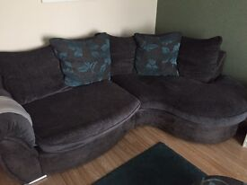 Kidney shaped sofa swivel chair and footpuffs