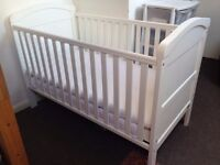 Sturdy white cot/bed with Organic cotton/coconut Green Sheep mattress