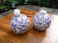 Pair Blue and white French ceramic ball flare lights.
