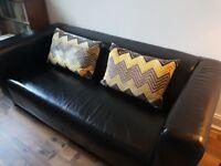Ikea Klippan Sofa, Black Leather 3 Seat