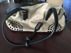 Black leather and taupe suedette handbag