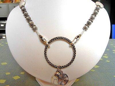 CoSi's Kette + Ohrringe UNIKAT elegant ausgefallen grau weiss mit echten Steinen