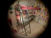 Ikea Svarta loft bed frame with desk top and mattress