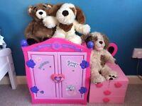 fantastic build a bear bundle - wardrobe, chest of drawers, bears