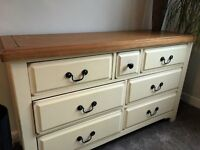 Counrty style natural oak and cream painted draws