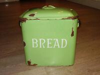 Green Enamel 'Shabby Chique' Bread Bin