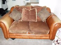 Chesterfield Style half leather half fabric 4 & 2 seat sofa's
