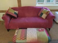 Dfs sofa x2 3 seaters pink and patchwork